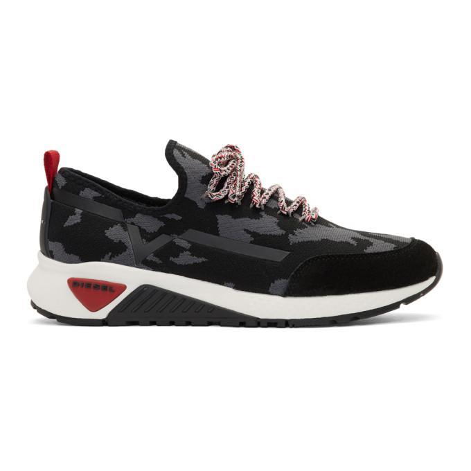 Diesel Black Camo S-Kby Running Sneakers In H6458