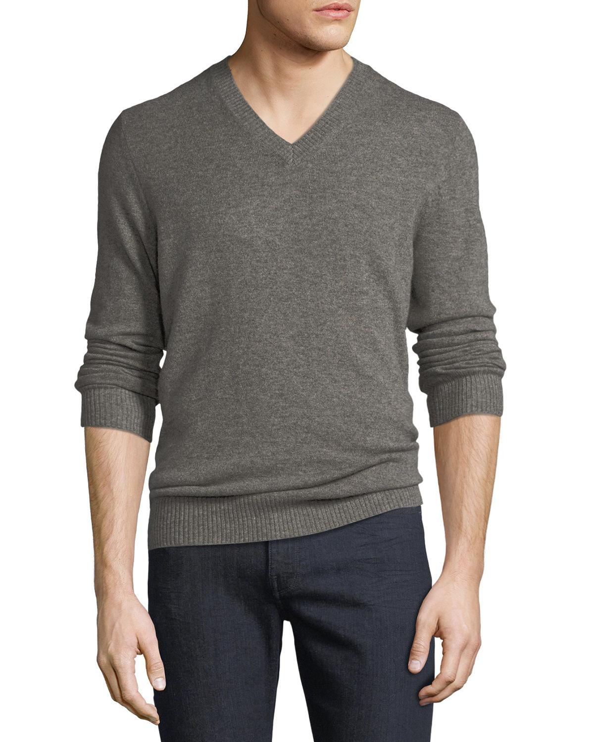 f23f27d0b8c Neiman Marcus Men's Cashmere V-Neck Sweater In Light Brown | ModeSens