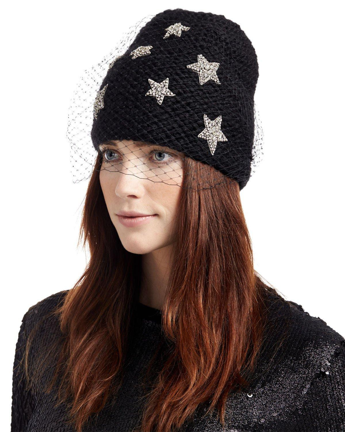 d9332535e2d65 Jennifer Behr Galaxy Voilette Veiled Alpaca Beanie In Black