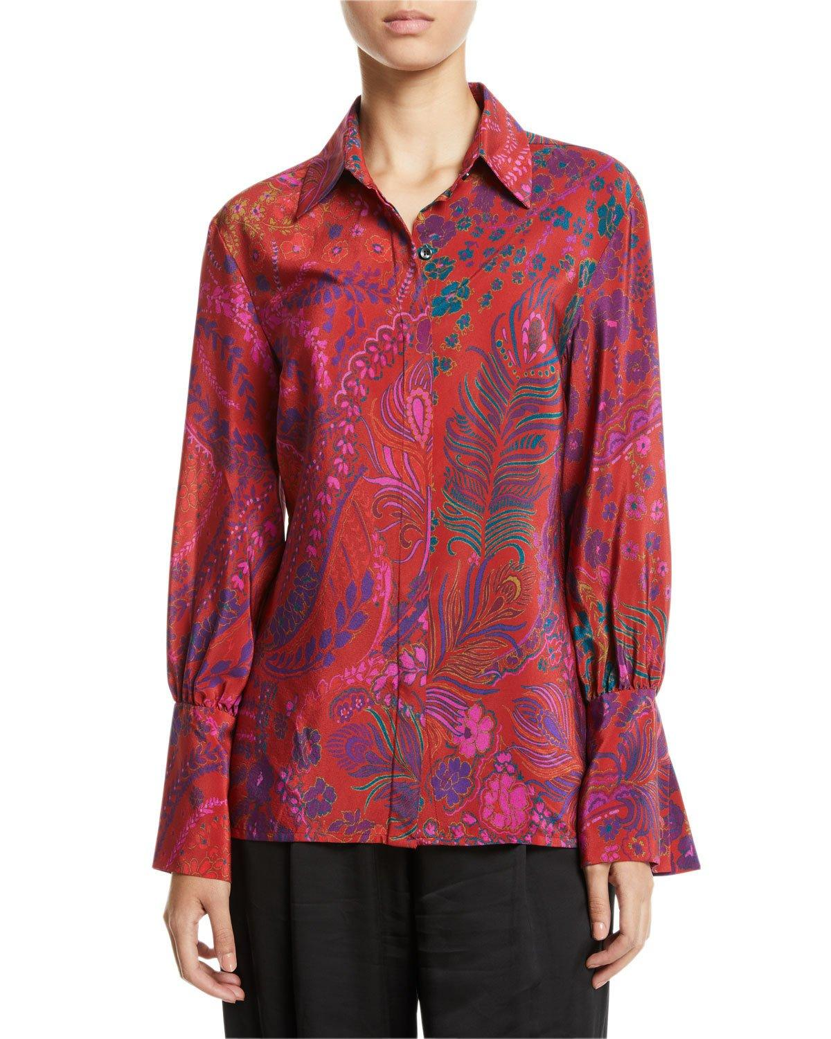 Josie Natori Long-sleeve Button-front Floral-print Silk Blouse In Red Multi