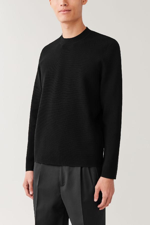 Cos Mock-neck Knitted Jumper In Black