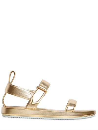 Golden Goose 10Mm Alice Metallic Leather Sandals, Gold