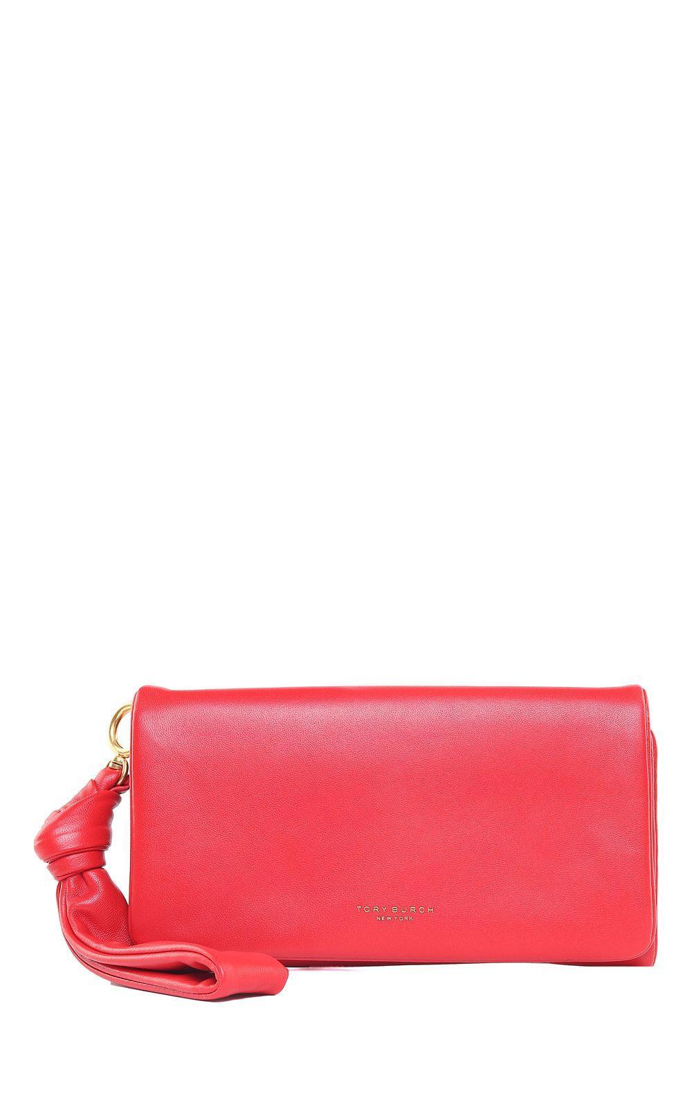 Tory Burch Beau Wristlet Nappa Leather Clutch In Rosso