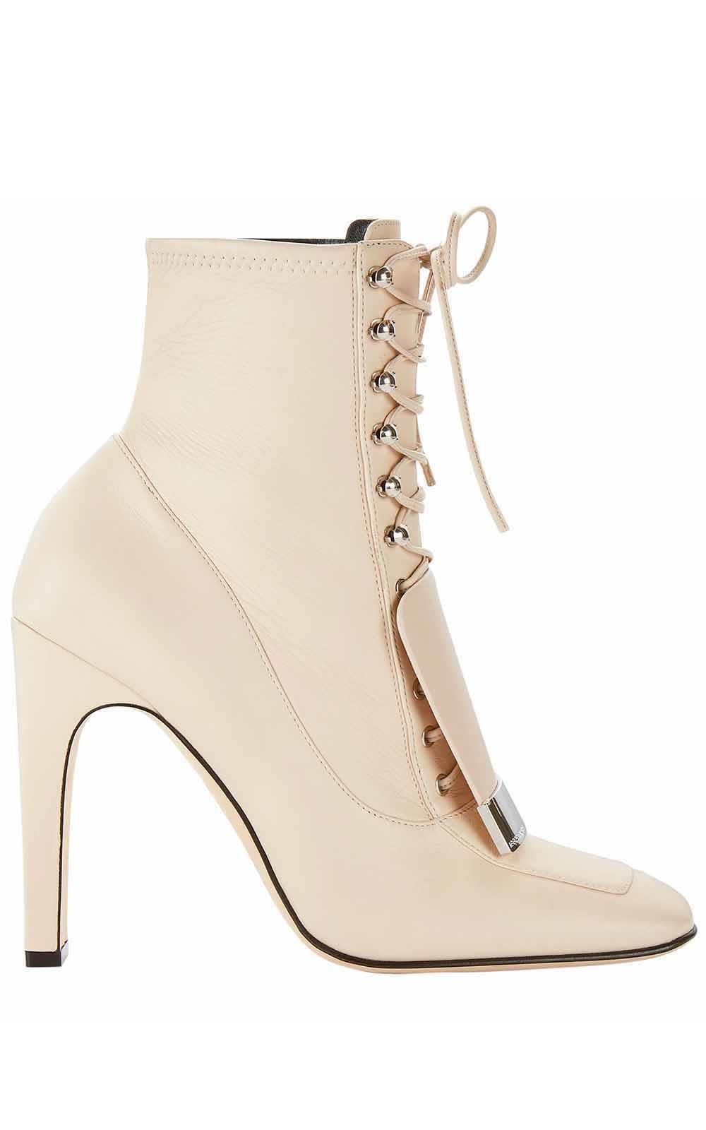 Sergio Rossi Sr1 Lace-Up Leather Booties In Bianco