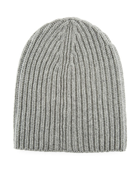 Loro Piana Men's Cashmere Rib-knit Beanie In Gray