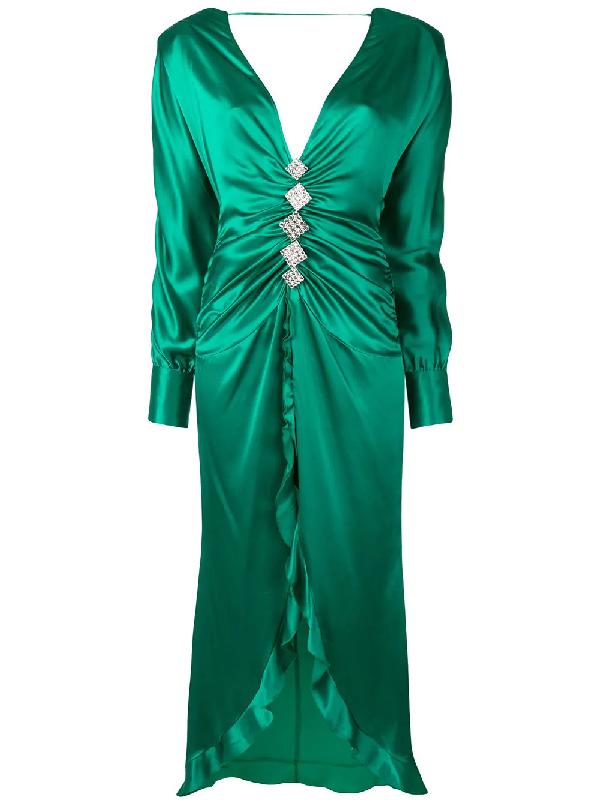 Alessandra Rich Crystal-embellished Silk-satin Dress In Green