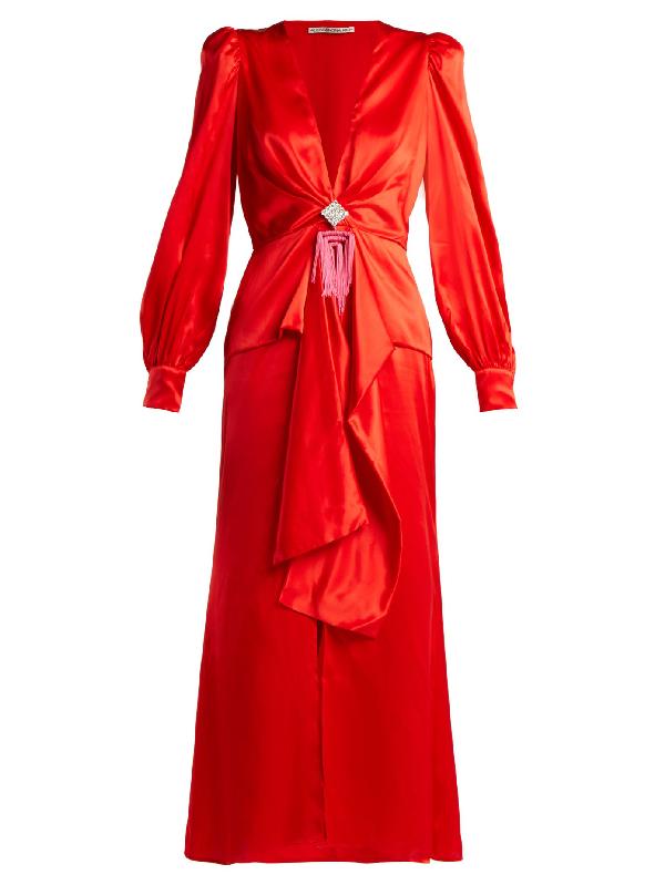 Alessandra Rich V-Neck Crystal-Embellished Silk-Satin Dress In Red