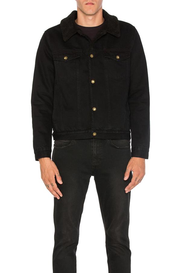 Rolla's Denim Sherpa Jacket In Jet Black