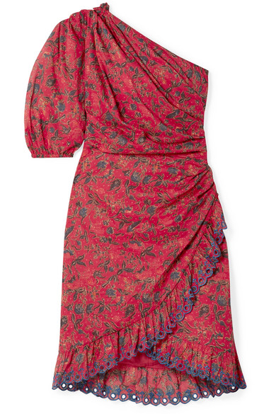 993aab55dc Etoile Isabel Marant Esther One-Shoulder Embroidered Floral-Print Cotton  Mini Dress In Red