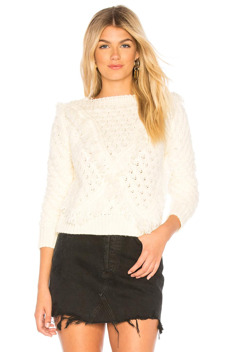 Majorelle Cable Knit Sweater In Cream.