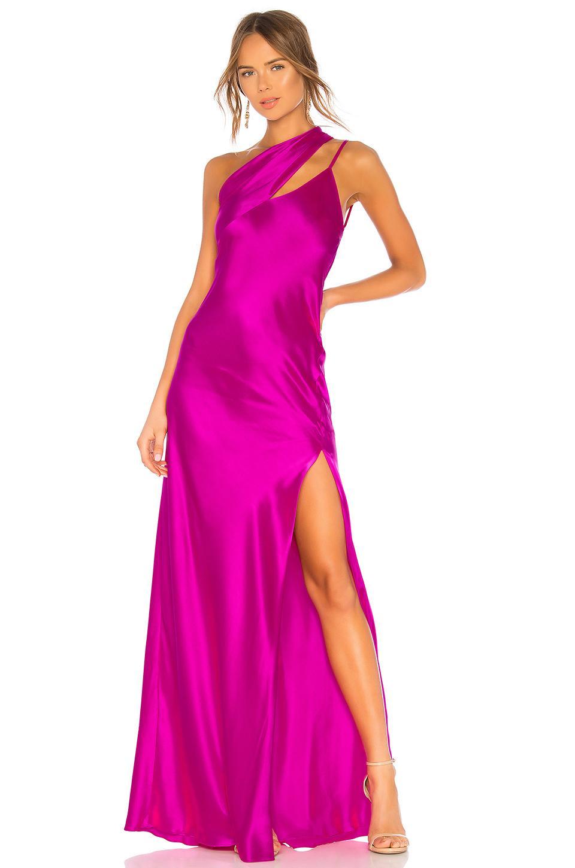 2110142434e Michelle Mason One Shoulder Gown In Fuchsia. REVOLVE. 677Login to see price