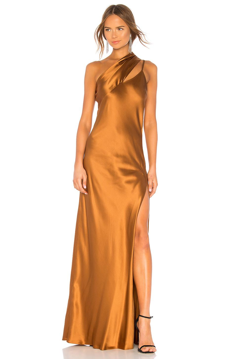cad941abb9b1a Michelle Mason One Shoulder Gown In Brown | ModeSens