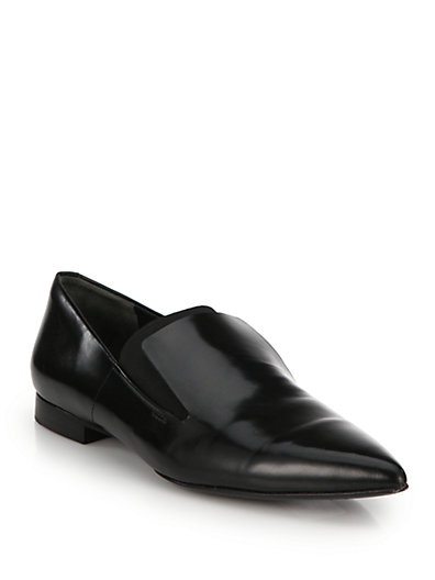 Alexander Wang 'Jamie' Elastic Band Leather Slip-Ons In Black