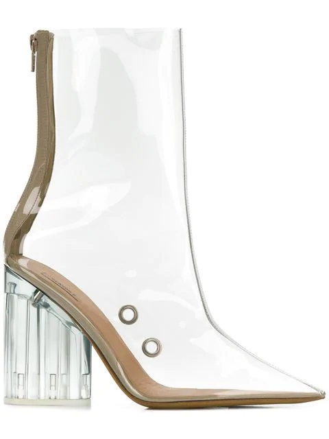 Yeezy Pvc High-Heeled Ankle Boots In Beige