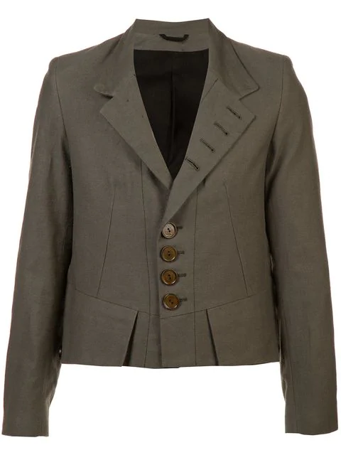 Ann Demeulemeester Cropped Blazer Jacket In Brown