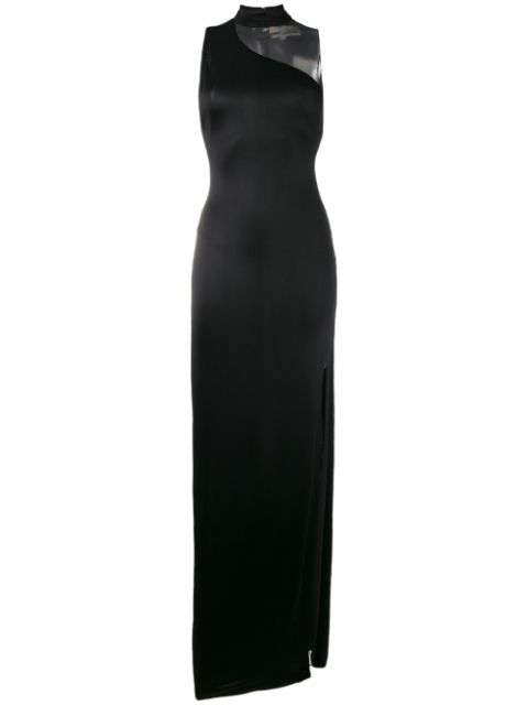 Galvan Black Shadow Sheer Panel Gown