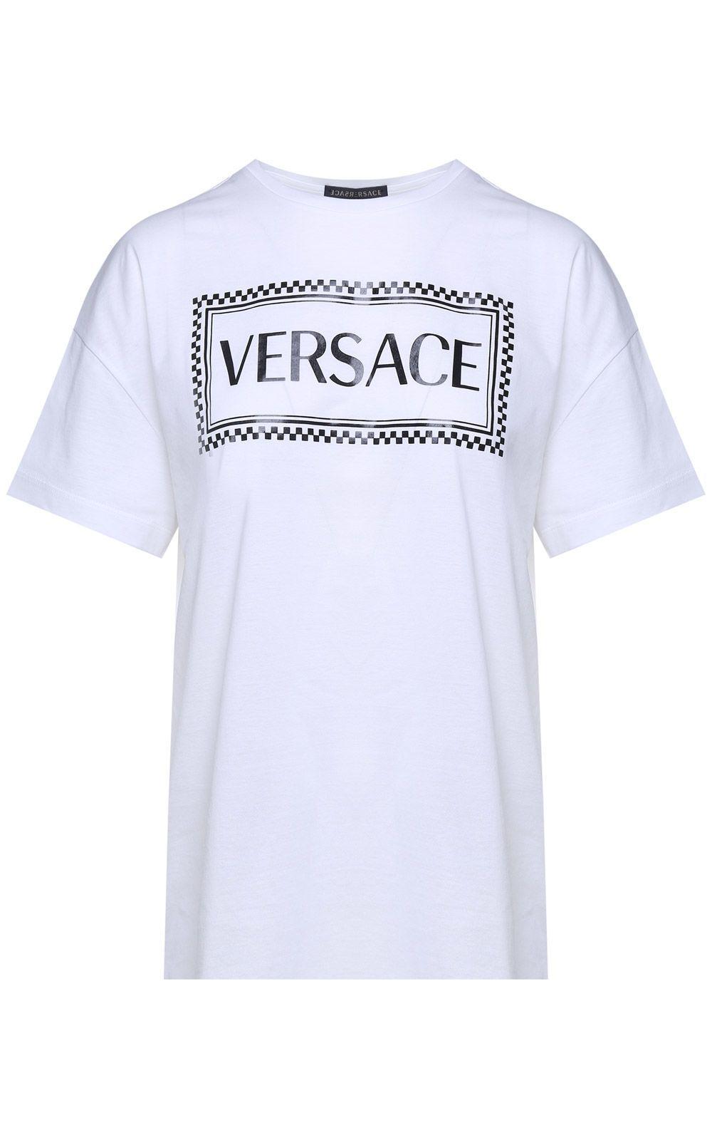 Versace Logo Patch T-Shirt In Bianco