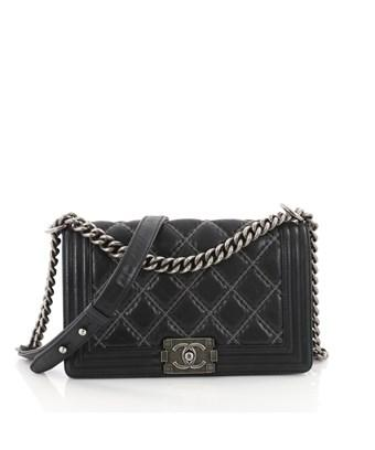 7e7df1e818 Chanel Pre-Owned: Boy Flap Bag Quilted Calfskin With Micro Chain ...