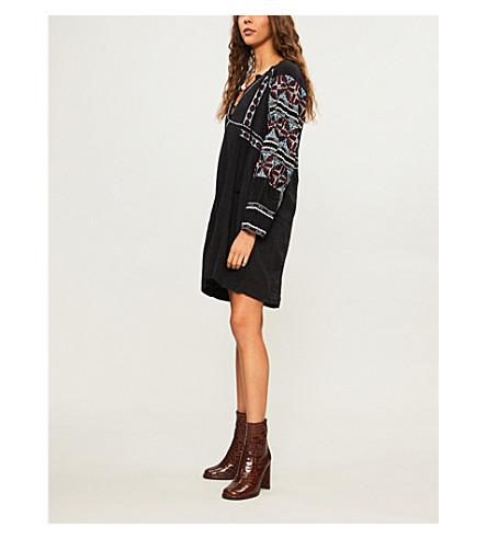 Free People All My Life Embroidered Cotton-blend Mini Dress In Black