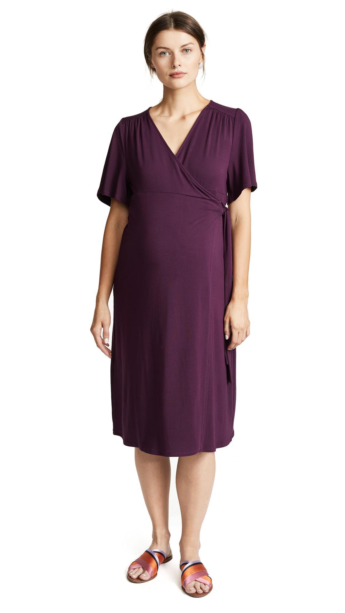 3b38cc6820 Ingrid   Isabel Flutter Sleeve Knit Maternity Wrap Dress In Plum ...