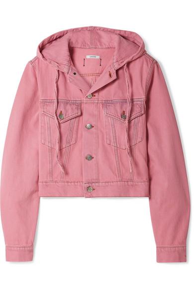 fce59bc70c5 Ganni Hooded Cropped Denim Jacket In Pink | ModeSens