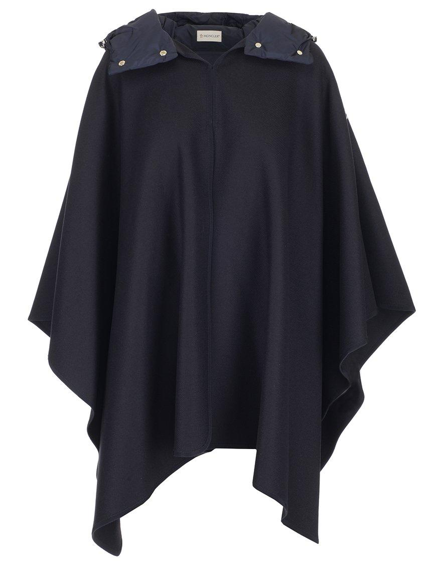 Moncler Hooded Cape Jacket In Navy
