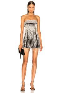 ce4533a03ee8 Attico Ludmilla Fringe Beaded Mini Dress In Black,Metallic,White ...