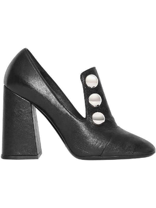 94fca43adf Burberry Women's Ambridge Leather High Block-Heel Loafers In Black ...