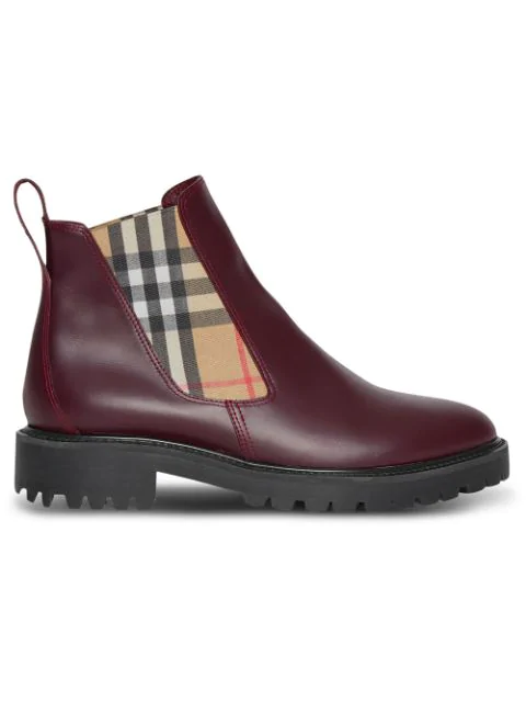 Burberry Vintage Check Detail Leather Chelsea Boots In Red