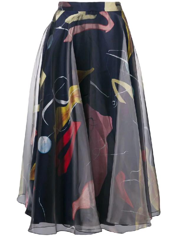 Roksanda Flared Patterned Skirt - Blue