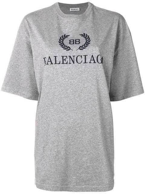 Balenciaga Oversized Logo Cotton Jersey T-Shirt In Grey