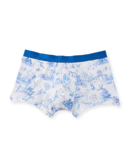 Derek Rose Japan 1 Toile-Print Hipster Boxer Briefs In Blue