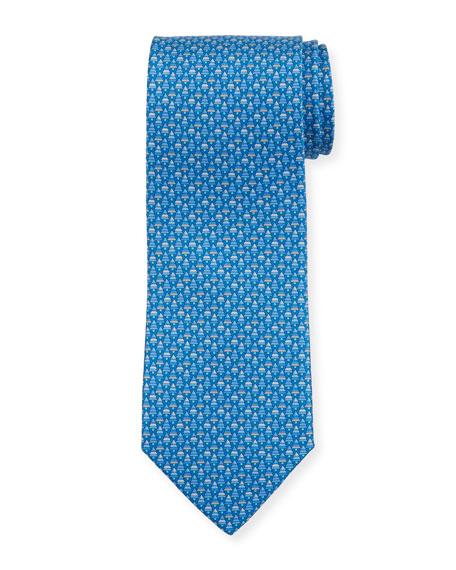 Salvatore Ferragamo Foglia Fir Tree Printed Silk Tie, Blue
