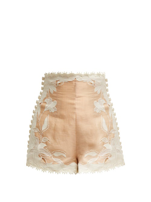 Zimmermann Corsage Lily Embroidered High-Waist Shorts In Nude