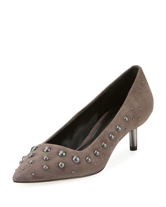 47fc8da067d Bazie Studded Suede Kitten-Heel Pumps in Grey Suede
