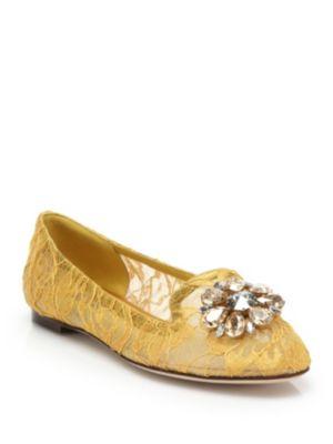 Dolce & Gabbana Gianna Embellished Lace Slipper In Mustard