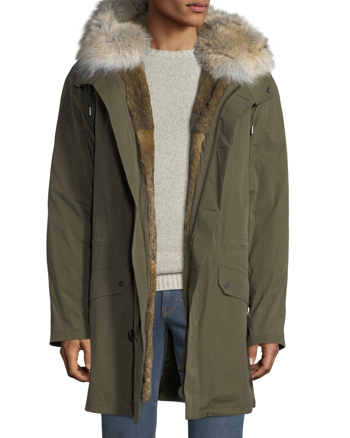 12041577daf8 Yves Salomon Men s Classic Long Fur-Trim Parka Coat In Green