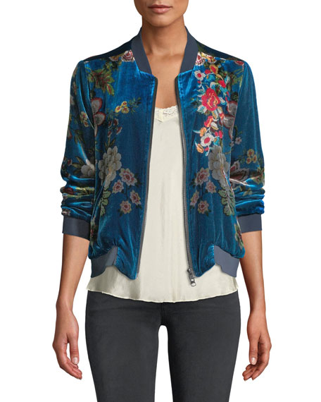 a1796763e86047 Johnny Was Plus Size Vivian Floral-Print Velvet Bomber Jacket In Multi