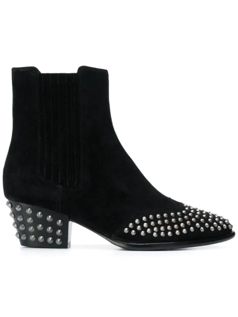 Ash Studded Ankle Boots In Black