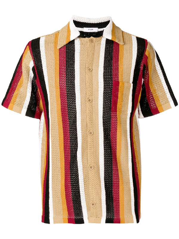 f0570c3796 Cmmn Swdn Wes Striped Knitted Cotton Shirt In Neutrals | ModeSens