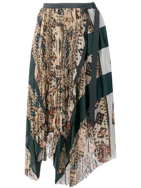 b2204b0ba Sacai Asymmetric Mixed Print Skirt In Neutrals   ModeSens