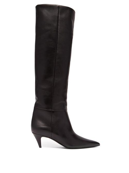885a5425404 Saint Laurent Leather Charlotte Kitten Heel Knee High Boots In Black ...