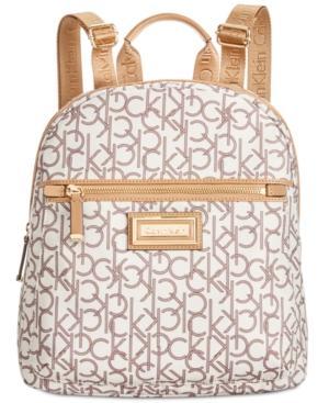 Calvin Klein Belfast Backpack In Almond Khaki Photo Print