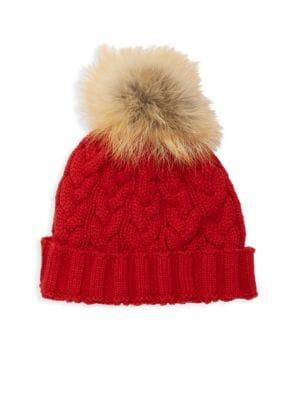 9fc7cda99f4 Cable-knit hat topped with fox fur pom pom. Acrylic Fur type  Natural fox.  Fur origin  China Dry clean by fur specialist. Imported SIZE Diameter