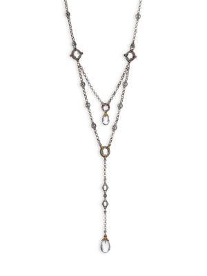 Konstantino Pythia Crystal, Corundum, Sterling Silver & 18K Yellow Gold Tiered Necklace