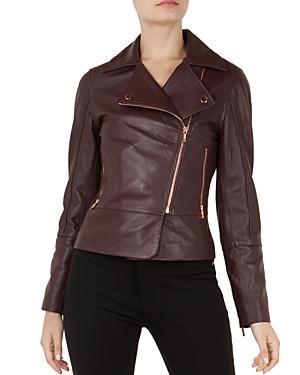 d9de641f7 Lizia Leather Biker Jacket in Purple