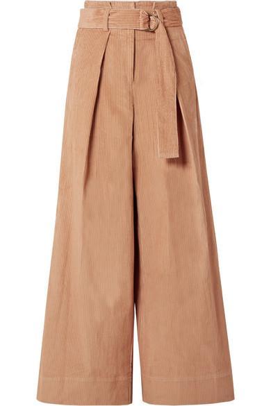 Ulla Johnson Rhodes Belted Cotton-Corduroy Wide-Leg Pants In Camel