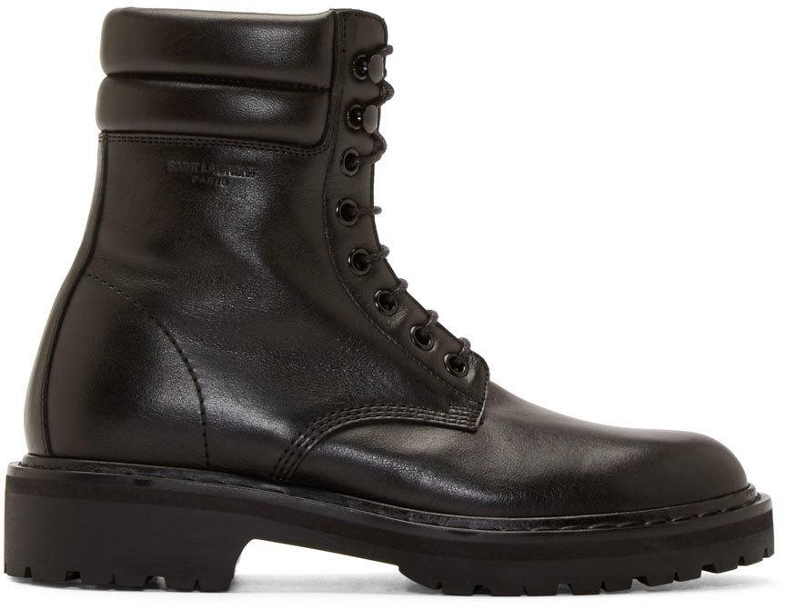 Saint Laurent Black Leather 'Trekker' Combat Boots' In Eero