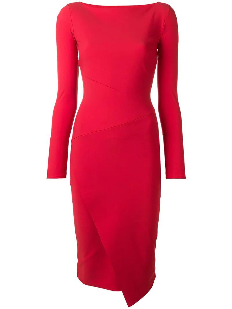 2b6ae655b31 Le Petite Robe Di Chiara Boni Longsleeved Fitted Dress In Red