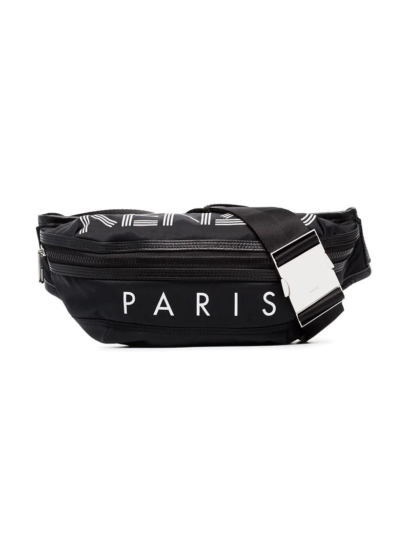 a1d7c61493c366 Kenzo Black And White Logo Print Leather Trimmed Cross-Body Bag - Farfetch